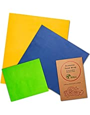 Wrapping paper storage-Beeswax wrap, Reusable produce bags reusable sandwich bags reusable beeswax food wrap avocado saver-Non plastic wrap 3 Pk - 3 Sizes and Colors, Eco-Friendly, Sustainable Premium