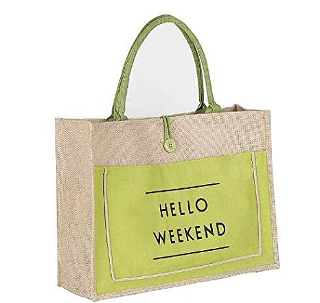 beige Women Handbag Shoulder Bags Linen Casual Tote Shopping Bag