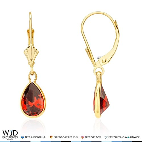Earrings Pink Topaz Garnet & (14k Yellow Gold Teardrop Bezel Birthstone Dangle Leverback Earrings 1
