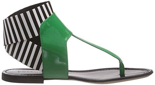 05 verd Sk5 Leather white Ver Mujer bi Elastic 85a Punta at black lod Mehrfarbig San Patent Abierta Green Pollini ne Striped tUqYwI4nx