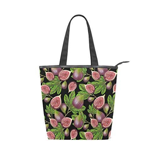 Fig Pattern Canvas Tote Handle Bag Tote bags Shopping Bag Large Travel Bag With Zipper Shoulder Strap Reusable For Shopping and Decorating ()
