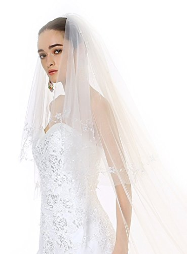 Passat Two Tiers Mid Veil with Filigree Beading White Designer Wedding Veils 111