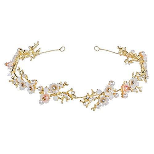 Bridal Daisy White Flower Crystal Pearl Headband Hair Vine Rhinestone Tiara Girl Crown Elegant Women