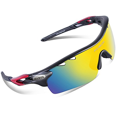 RIVBOS 801 Polarized Sports Sunglasses Sun Glasses with 5 Interchangeable Lenses for Men Women Baseball Cycling Runing - Sunglasses Hut Deals