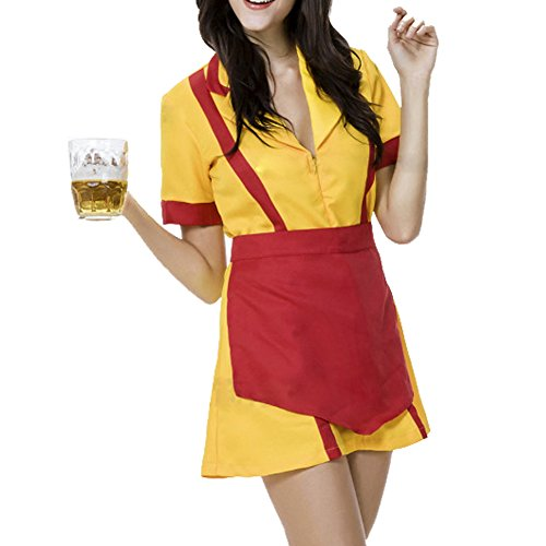 RedExtend 2 Broke Girls Bar Waitress Fancy Dress Halloween Party Costume L (America Deluxe Pirate Captain Costume)
