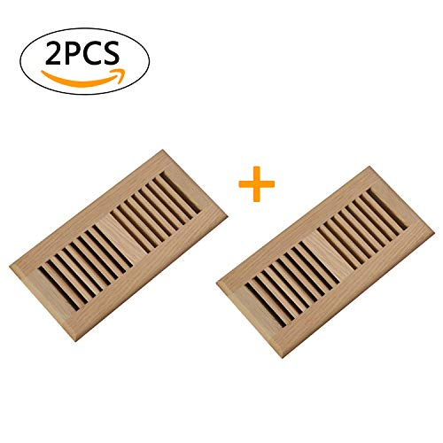 (Welland 2 PCS Set White Oak 4-inch by 10-Inch Drop in Vents,3/4 inch Thickness Wood Vents Cover Floor Register,Unfinished.)