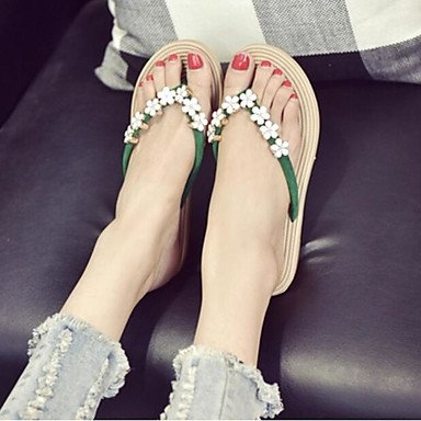 RUGAI-UE Moda de Verano Mujer sandalias casuales zapatos de tacones PU Confort,Almendros,US6.5-7 / UE37 / UK4,5-5 / CN37 Green
