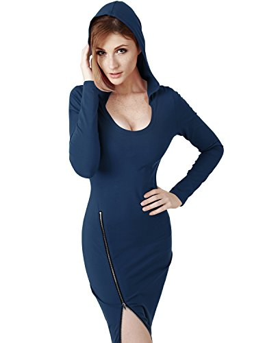 [Elbon Boutique Womens Fitted Dress with Sexy Side Zipper Point NAVY 3XL] (Maternity Fancy Dress Uk)