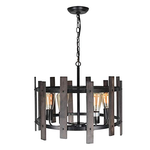 Beuhouz Farmhouse Chandelier Light Fixtures, Metal and Wood Round Chandelier Rustic Dining Pendant Light 6 Light Edison E26 8010 - Chandeliers Finish Natural Rust
