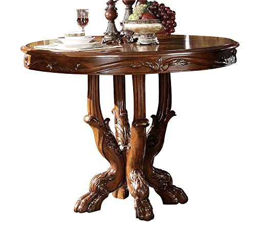 ACME 12160 Dresden Counter Height Dining Table, Cherry Oak Finish (Table Dining Cottage Oak Round Pedestal)
