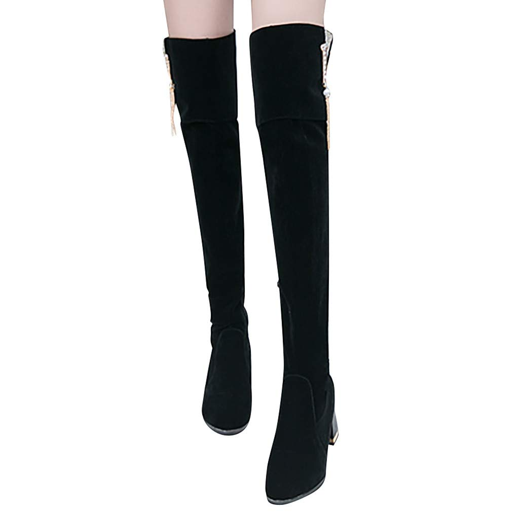 Dainzuy Women's Thigh High Boots Fashion Round Toe Faux Suede Over The Knee Chunky Block Heel Dress Boots Black by Dainzuy Women's Shoes