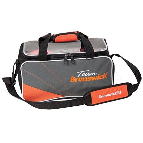 Team Brunswick Double Tote Bowling Bag- No Shoes- Slate/Orange