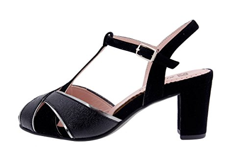 Calzado mujer confort de piel Piesanto 1258 Sandalia Tacón cómodo ancho Negro