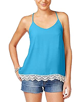 Miss Chievous Juniors Printed Crochet-Trim Strappy Top, Pool Party, Small
