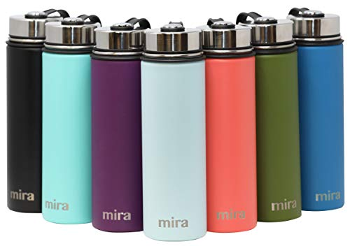 - MIRA 12 Oz Stainless Steel Vacuum Insulated Wide Mouth Water Bottle with 2 Caps | Thermos Keeps Cold for 24 Hours, Hot for 12 Hours | Double Walled Powder Coated Travel Flask | Pearl Blue