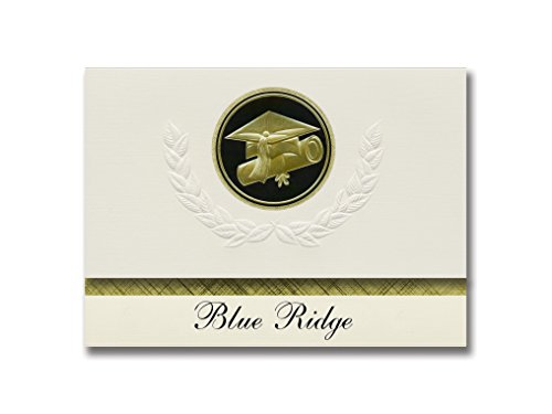 Signature Announcements Blue Ridge (South Lake Tahoe, CA) Graduation Announcements, Presidential style, Elite package of 25 Cap & Diploma Seal. Black & Gold.