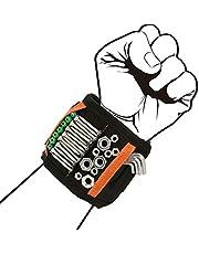 EDATOFLY Magnetische Polsband, Magnetische Armband met 15 Krachtige Magneten Verstelbare Klittenband Magneetarmband voor Het Vasthouden van Gereedschap Geschenken voor Heren