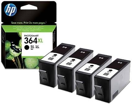 HP 364XL - Pack de 4 cartuchos de tinta negra para impresora HP ...