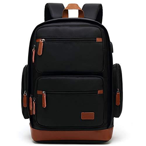 Mali Usb Multifonction Sac à dos Couleur Unie Grande Capacité Étudiant Business School Bag 32 * 18 46 Centimètres, Gris Noir