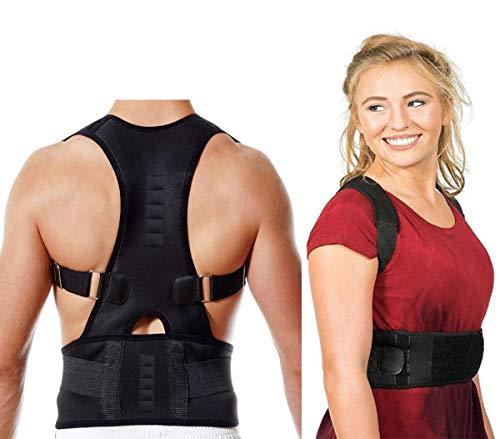 Fully Adjustable Magnetic Orthopedic Back Brace Posture Corrector For Men Women w Lumbar Support Belt - Shoulder, Neck, Upper Lower Back Pain Relief-Best Straightener Trainer Improves Upright Stance - Adjustable Upright Support