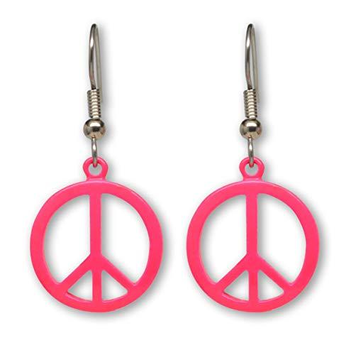 Neon Hot Pink Hippie Peace Sign Dangle Earrings