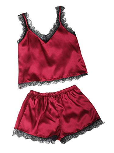 MAKEMECHIC Women's Lace Satin Sleepwear Cami Top and Shorts Pajama Set Red S
