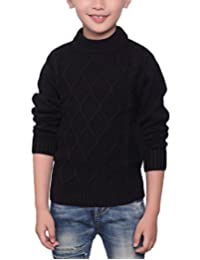 MFrannie Boys 3-13T Bear Solid Plaid Knitted Thicken Casual Sweater
