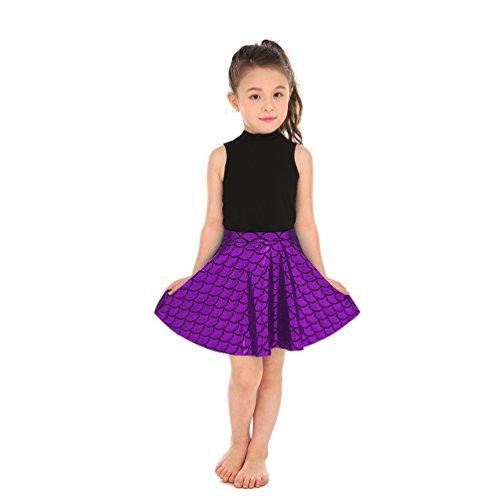 - Lesubuy Shiny Purple Cute Fish Mermaid Girl's Mini Flared Skater Skirts Large