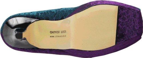 La Plate-forme De Lites Brillante De Blanchisserie De Femmes Chinoises Pompe Bleu / Multi