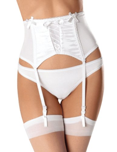 Escante Women's Satin and Lace Up The Front Wide Garter Belt