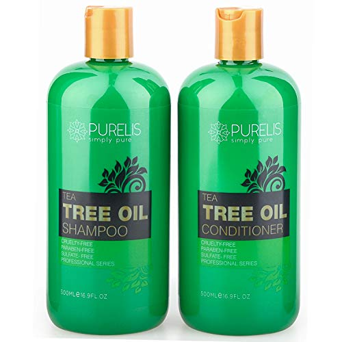 Purelis Tea Tree Oil Shampoo & Conditioner Set, Tea Tree Shampoo + Tea Tree Conditioner for Deep Cleansing & Hydrating for Dandruff, Itchy Scalp & Dry Hair, 16.9 oz. each