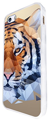 285 - Cool Fun Tiger Face Design iphone SE - 2016 Coque Fashion Trend Case Coque Protection Cover plastique et métal - Blanc