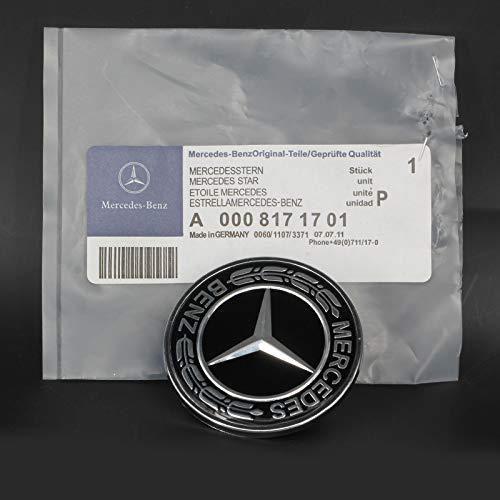 idingxin Flat Hood Emblem 57MM for Mercedes Benz C E SL Class Ornament Logo Black