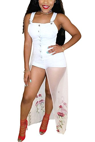 Dreamparis Women's Embroidery Mesh Patchwork Denim Jean Bid Overall Shorts Cowboy Romper Shortalls XX-Large White