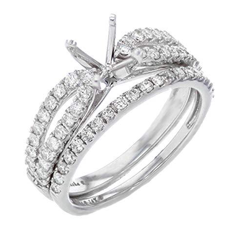 (14K White Gold Diamond Engagement Ring Setting Bridal Set Semi Mount 3/4ctw Fits 1ct)