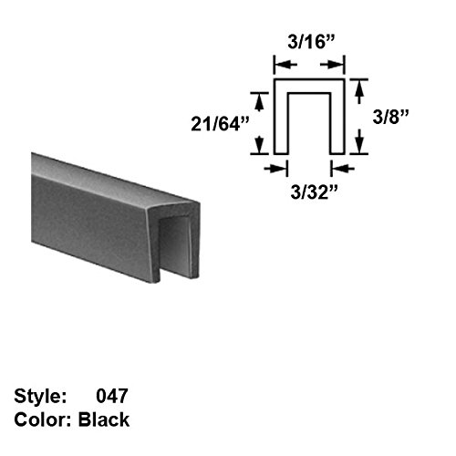 Silicone Rubber High-Temperature U-Channel Push-On Trim, Style 047 - Ht. 3/8'' x Wd. 3/16'' - Black - 25 ft long by Gordon Glass Co.