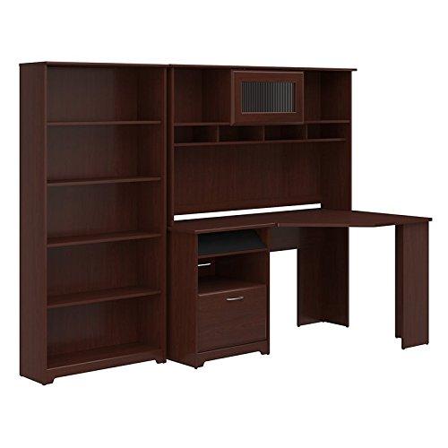Bush Furniture Cabot Corner Desk with Hutch and 5 Shelf Bookcase in Harvest ()