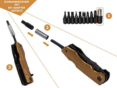 41BoKbyemDL NEKAVA 5-in-1 Multitool   Multifunktionswerkzeug mit Klappmesser in schwarzem Edelstahl und Griff aus Gold. Ideal als…