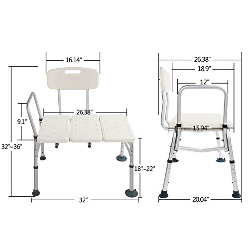 Bath Chair Shower Chair Seat Bench with Arms and Backs,Heavey Duty 330 lbs Handicap Shower Chair 3 Blow Molding Plates Aluminium Alloy 10 Height Adjustable Baby Bathtub Lift Chair for Seniors Elderly ()