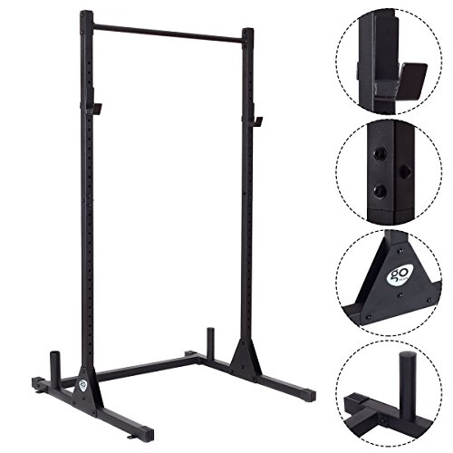Goplus Adjustable Lifting Rack Squat Dumbbell Barbell Free Bench Deadlift Curl Strength Power Pull Up Weight Stand
