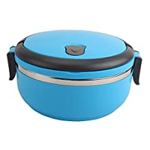 Lunch Box - Portable Stainless Steel Thermos Bento Lunch Box Thermal Food Container 700ml for Kids Single Layer Blue