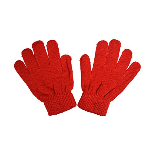Childrens Gloves Magic (Big Kids Gloves Magic Knit Gloves unisex Solid Colors - Red)