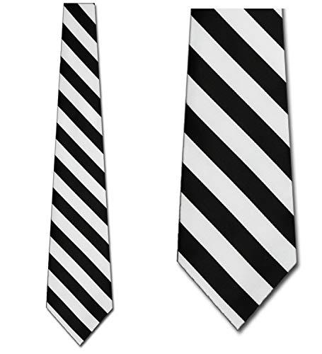 (Mens College Stripe Neckties Black and White Striped Tie)