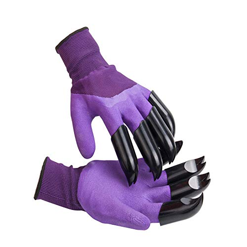 1 Pairs Garden Genie Gloves with Claws,for Digging and Planting,Breathable, Best Gift for Gardener(Purple)