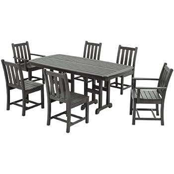 POLYWOOD PWS133 1 GY Traditional Garden 7 Piece Dining Set, Slate Grey
