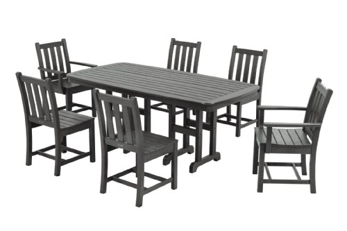 POLYWOOD PWS133-1-GY Traditional Garden 7-Piece Dining Set, Slate Grey