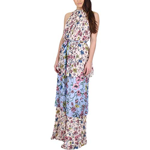 Juicy Couture Black Label Womens Floral Print Chiffon Maxi Dress Pink 2