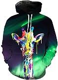 KIDVOVOU Giraffe Hoodie for Kids Unisex 3D Digital Print Pullover Sweatshirt