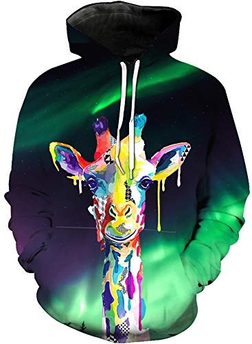 Price comparison product image KIDVOVOU Giraffe Hoodie for Kids Unisex 3D Digital Print Pullover Sweatshirt