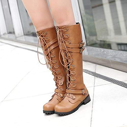 Loafers Gothic Winter Size Lace Yellow Boots High Buckle Boots Boots Boots Punk Toe Round Steampunk Vintage Up Shoes Combat Knee 5 Solid Style BaZhaHei Retro Women 8 Military Belt Boots 2 ESBxRAq